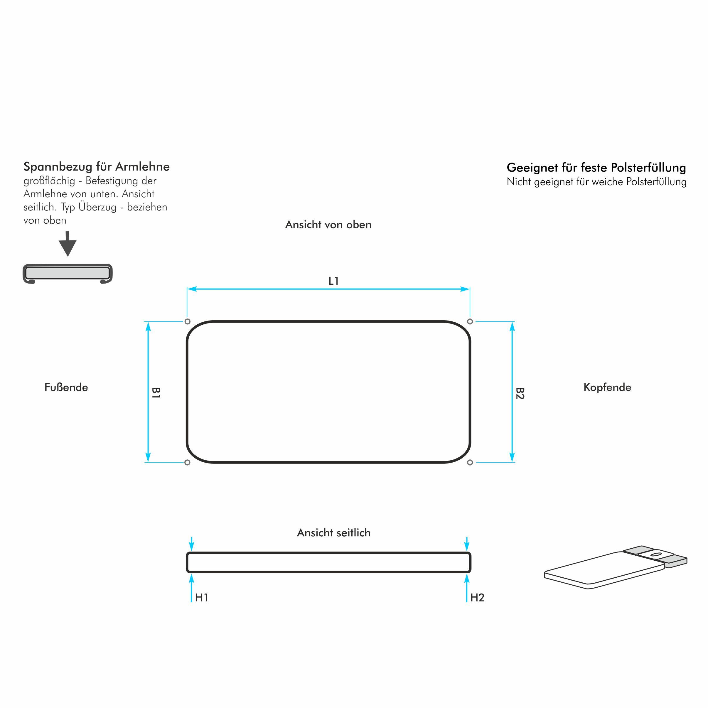 bezug nach ma f r eine 4 eckige rechteckige und breite armablage einer wellnessliege harti. Black Bedroom Furniture Sets. Home Design Ideas