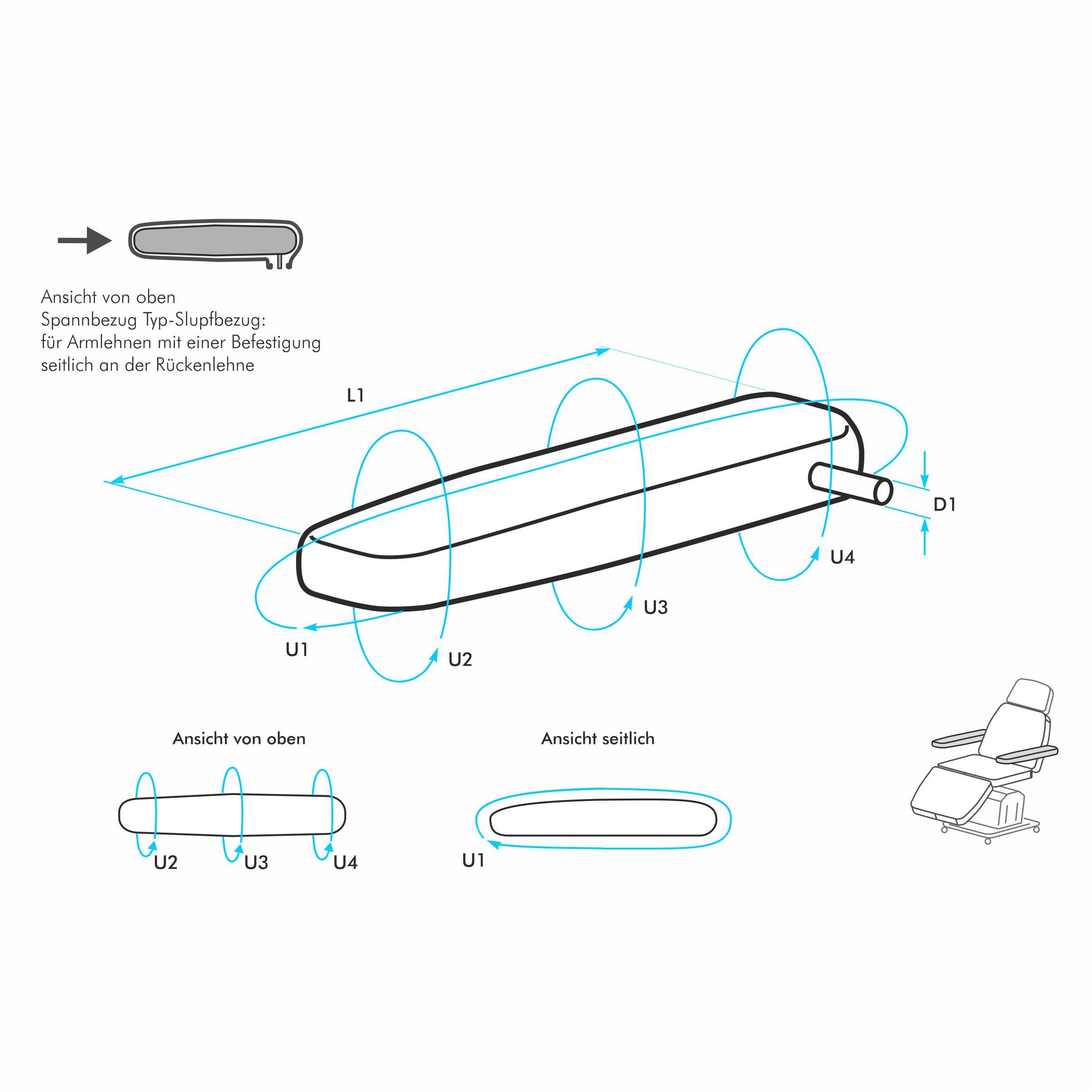 armlehnenbezug nach ma f r eine schmale armlehne mit abgerundeten kanten typ schlupfbezug. Black Bedroom Furniture Sets. Home Design Ideas