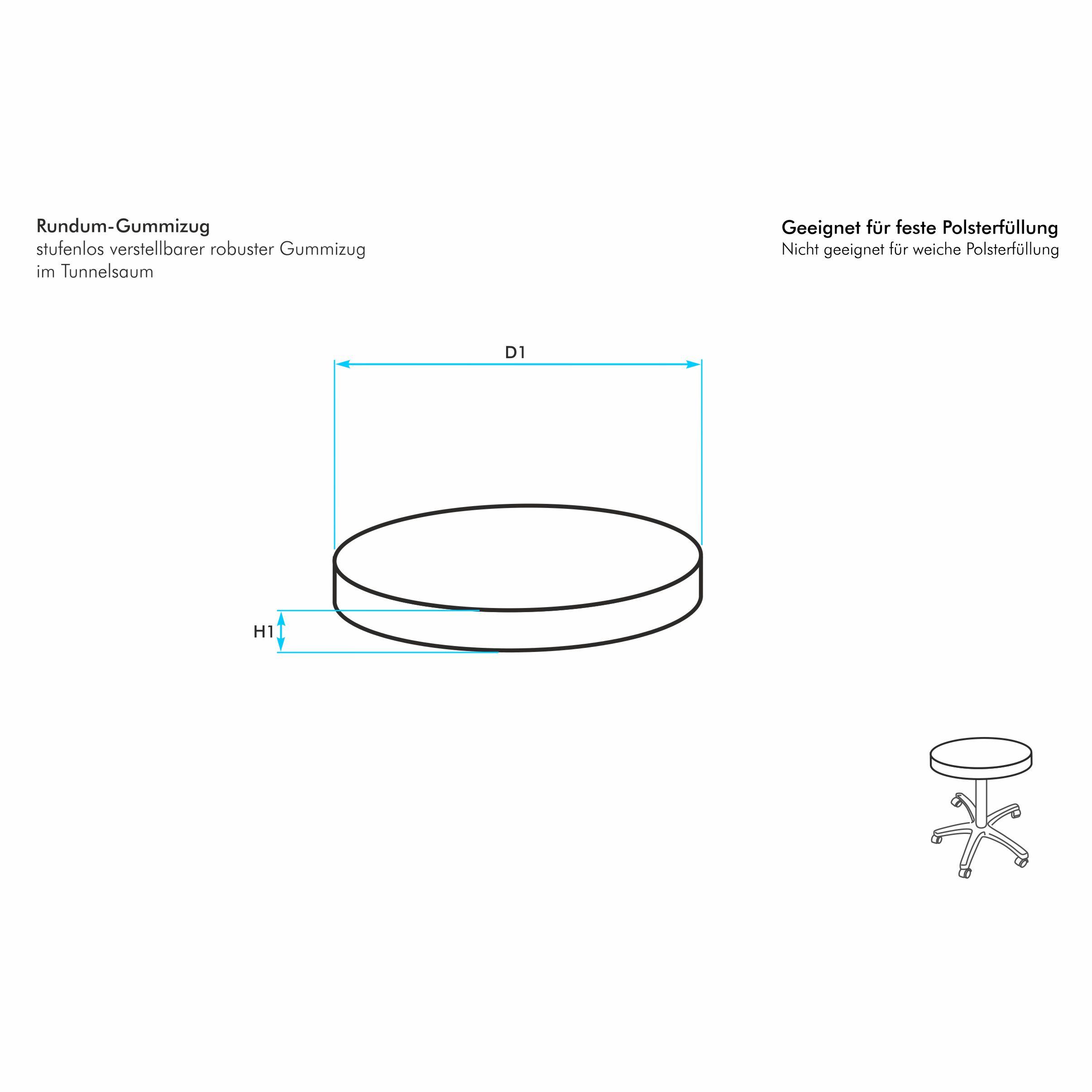 runder hockerbezug nach ma f r eine runde feste sitzunterlage oder einen hocker mit rundem. Black Bedroom Furniture Sets. Home Design Ideas