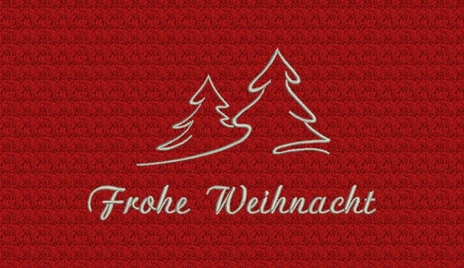 stickerei mit frohe weihnacht und kontur eines winterlich verschneiten tannenbaums harti. Black Bedroom Furniture Sets. Home Design Ideas