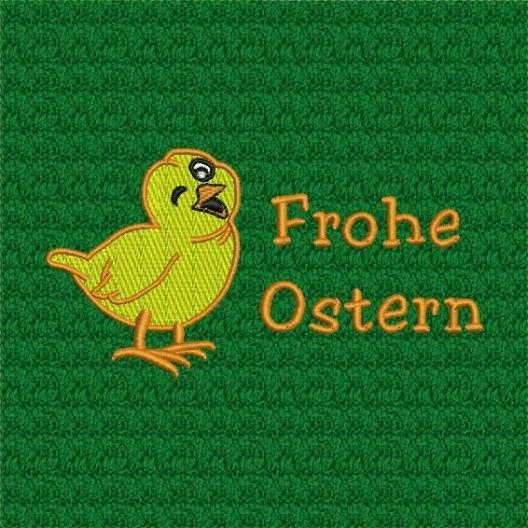 """Ostermotiv - gesticktes Küken und dem Gruß """"Frohe Ostern"""""""