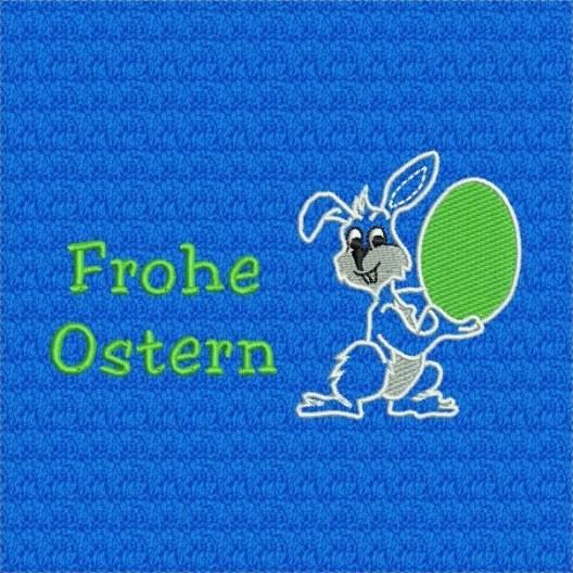 Gestickter Hase mit grünem Ei, Kontur weiß