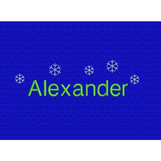 Schneekristalle + Name Alexander - Schriftart Helvetica