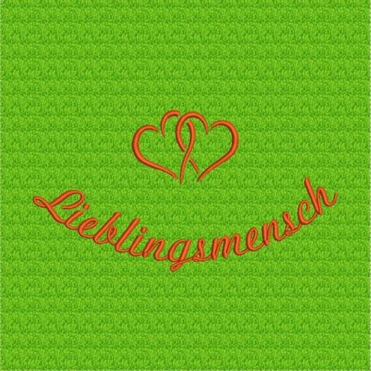 Stickerei Lieblingsmensch - rot auf apfelgrün