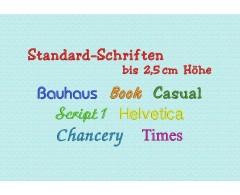 Standard-Schriften bis ca. 2,5 cm hoch