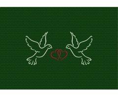 Verliebte Tauben - Stickerei-Simulation auf grünem Handtuch