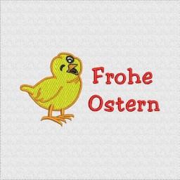 """Gesticktes Oster-Küken und dem Gruß """"Frohe Ostern"""""""