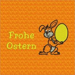 Gestickter Hase mit gelbem Ei, Kontur schwarz
