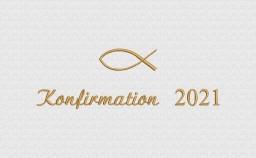 Stickerei mit Fisch und Jahr als Konfirmations-Geschenk