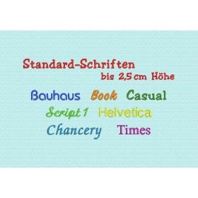 Stickerei mit Name oder Spruch - Schrifthöhe bis ca. 2,5 cm