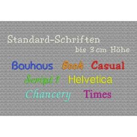 Stickerei mit Name oder Spruch - Schrifthöhe ca. 3 cm
