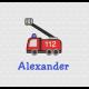 Feuerwehr-Auto und Name in Schriftart Casual