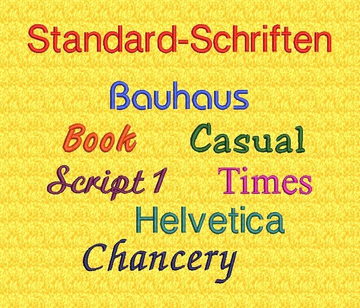 Abbildungen und Schriftbeispiel unserer Standardschriftarten für individuelle Texte und Namenrmoden