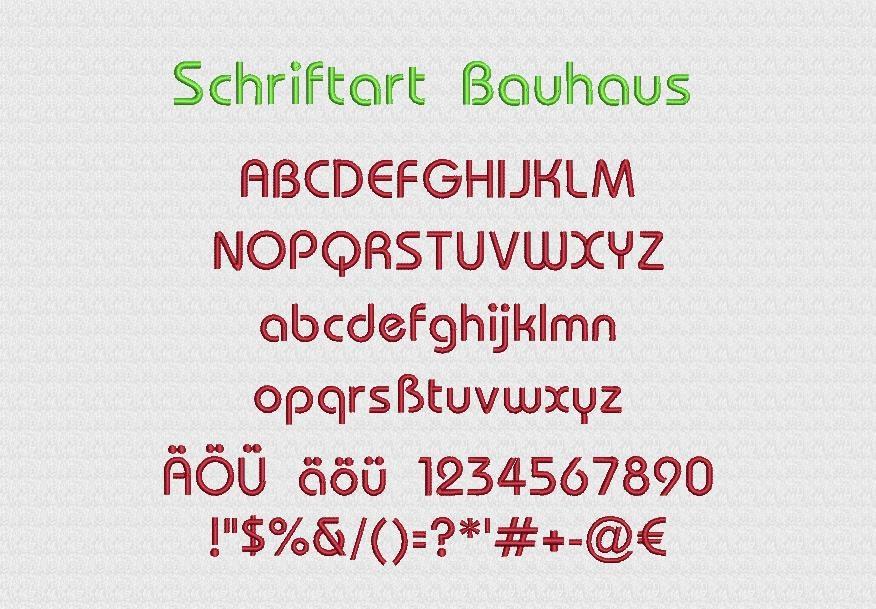 Schriftart Bauhaus Stickerei