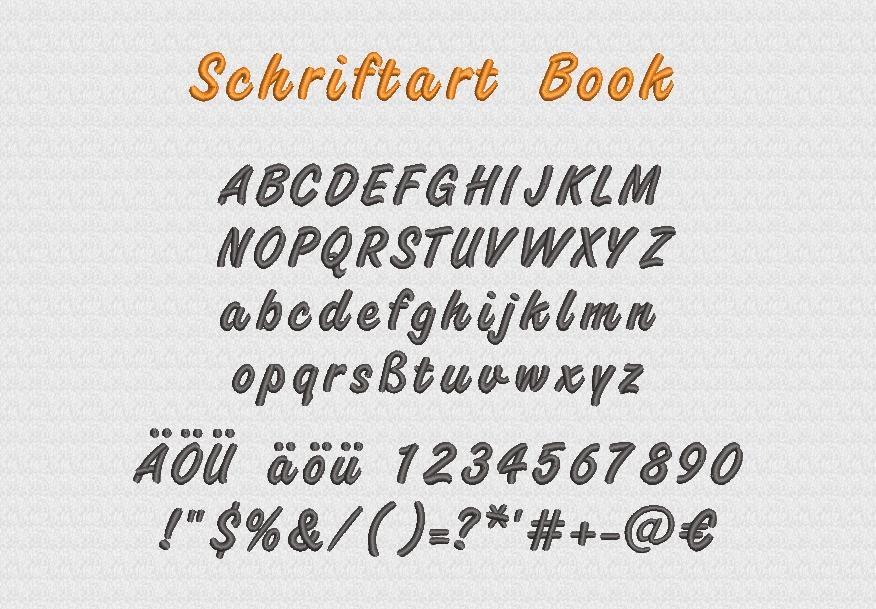 Schriftart Book Stickerei