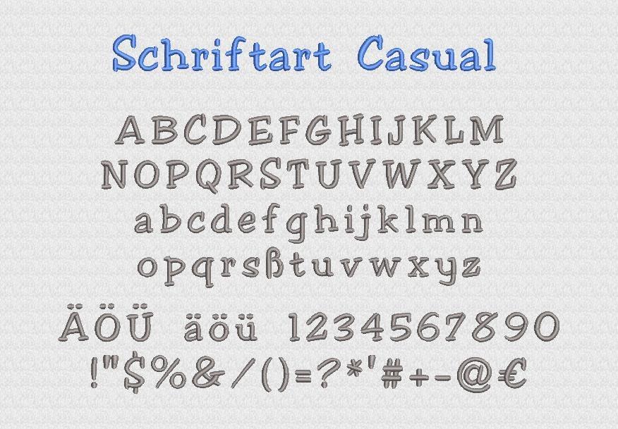 Schriftart Casual Stickerei