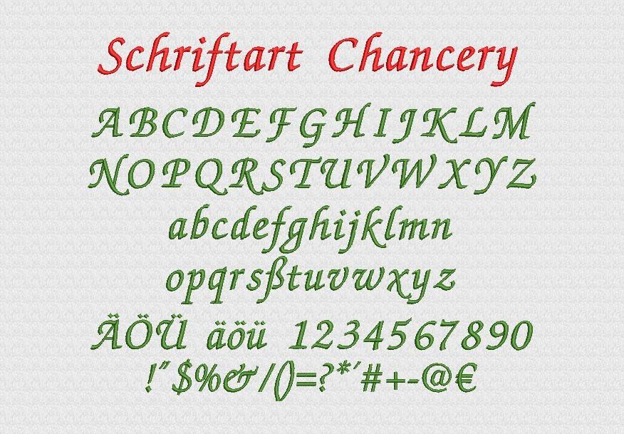 Schriftart Chancery Stickerei