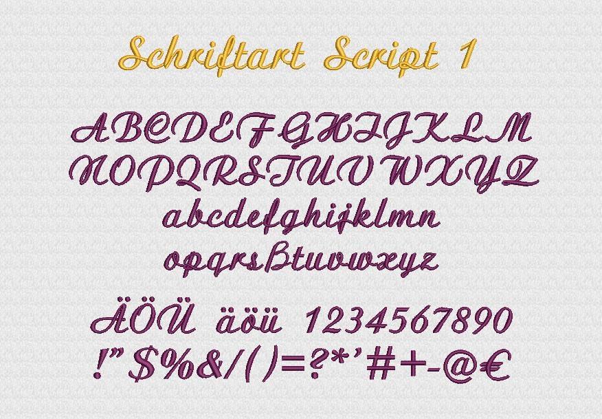 Schriftart Script1 Stickerei